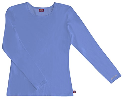 Dickies Medical Scrubs 84770 Women's EDS Silky Long Sleeve Crew Neck Tee Ceil Blue Small
