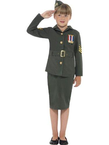 (Girls WW2 Costume Army Girl World War 2 WW11 Soldier Fancy Dress Costume 4-12 yr LARGE 10-12 YEARS by)