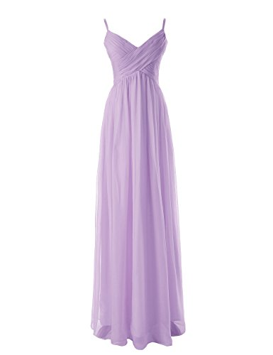Lavender Spaghetti Strap Dress (Diyouth Long Spaghetti Straps Bridesmaid Dresses Pleated Formal Evening Gowns Lavender Size)