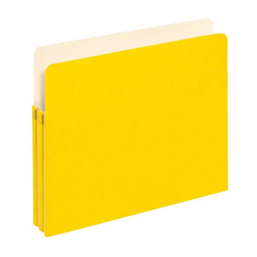 Globe-Weis/Pendaflex Colored File Pockets, 1.75-Inch Expansion, Letter Size, Yellow, Letter Size, Box of 25 (1514C -