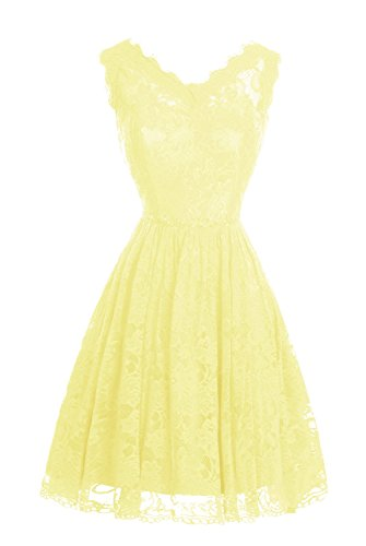 Short Daffodil Dasior Party Line Lace Neck V A Homecoming Dress Women's SUqUxCP
