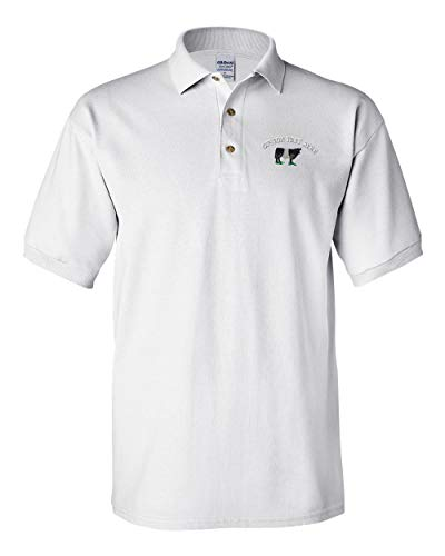 Custom Text Embroidered Belted Galloway Men's Adult Button-End Spread Short Sleeve Cotton Polo Shirt Golf Shirt - White, 2X Large ()