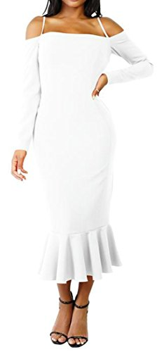 Off Solid Shoulder Long Dress White Mermaid amp;H Ruffle C Women Sleeve qHZUWC