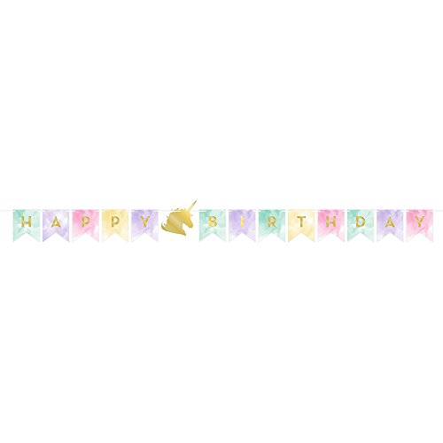 Creative Converting 329312 Happy Birthday Banner, Unicorn Sparkle -