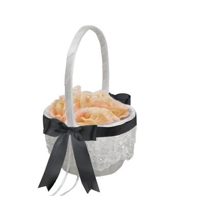 Beverly Clark Chantilly Lace White Flower Girl Basket With Custom Satin Ribbon Bow (BLACK)