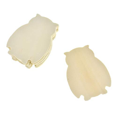 Homeford Owl Shaped Wooden Cut-Outs, Ivory, 3-1/2-Inch, 10-Count