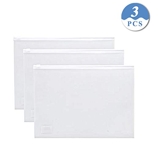 Document Zipper Bag,izBuy Waterproof File Folder Pouch PP Pocket Bags A5 Envelope Paper Holder Organizer Credit Card Cash Coin Receipt Coupon Storage Bag,9.8x7.3 Inches,Clear (White/3pcs) -