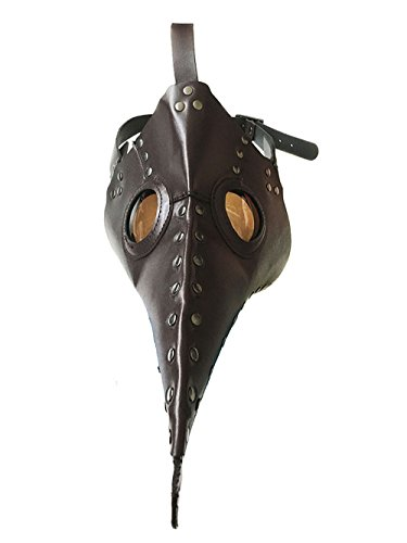 Doctors Plague Mask (Kangkang@ Plague Bird mask Doctor mask Long Nose Cosplay Fancy Mask Exclusive Gothic Steampunk Retro Rock Leather Halloween mask (Brown))