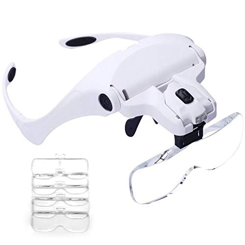 Headband Magnifier, Handsfree Reading Head Mount Magnifier, Magnifying Glasses with 2 LED Light 5 Detachable Lenses for Reading, Jewelry Loupe, Watch and Electronic Repair (Sample ()