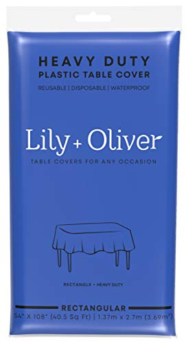 Lily + Oliver Plastic Table Cloths for Parties - (6 Pack) Disposable Blue Plastic Tablecloth - Rectangle Indoor/Outdoor Tablecloth - Plastic Table Covers 54