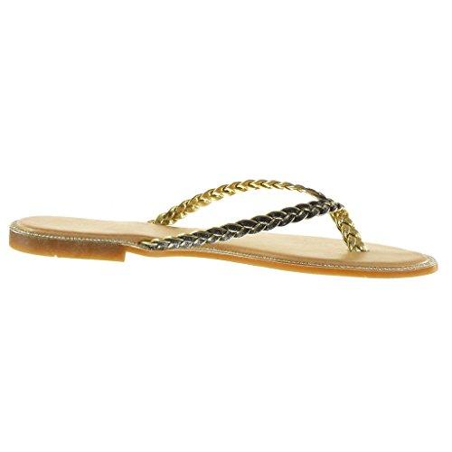 Angkorly - Scarpe da Moda sandali infradito donna lucide intrecciato Tacco a blocco 1.5 CM - Nero