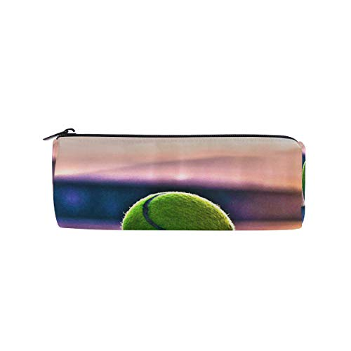 Pencil Case Cylinder Shape Holders Tennis Court Pen Stationery Pouch Bag with Zipper