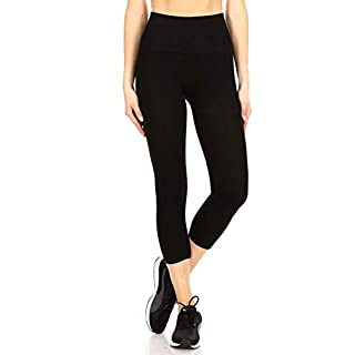 ShoSho Womens Basic High Waist Sports Capris Yoga Tummy Control Leggings Activewear Stretch Bottoms Cropped Athletic Pants Solid Black Large/X-Large