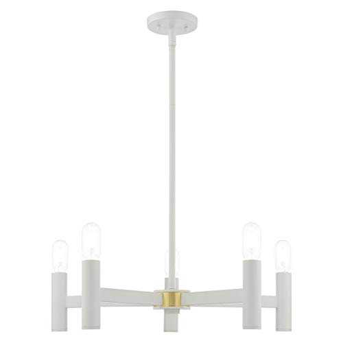 Livex Lighting 51135-03 Copenhagen - Five Light Chandelier, White Finish