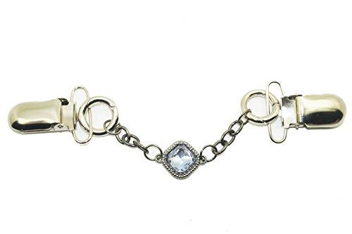 - Stylish Vintage Antique Rhinestone gem Crystals Sweater Clip,Stylish, Cardigan Collar Clip Women Filigree Cinch for Back of Dresses Shawl Clip, Collar Clip