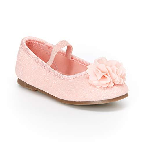 carter's Girls' Calista Glitter Flower Ballet Flat, Rose Gold, 11 M US Toddler -