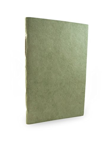 Nepali Companion Notebook with Handmade Paper and Vegetable-Dyed Cover. Made in Nepal (Medium, Sage)