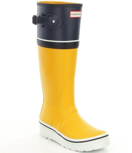 Hunter Tall Stripe 40 Yellow 41 EU Women's UK Wellington 7 Size Buoy Boots Wedge 4rXwXxt