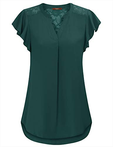 - Gaharu Blouses for Women Novelty Petites V Neck Chiffon Tops &Tees for Work Flutter Sleeve Lace Patchwork Ruched Front Swing Office Tunic Shirts Dark Green,S