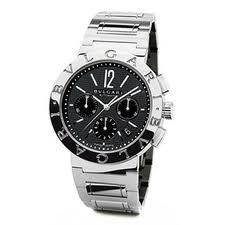 (Bvlgari-Bvlgari Chronograph Automatic Black Dial Stainless Steel Mens Watch BB42BSSDCH)