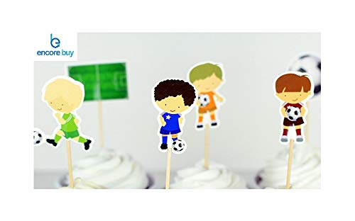 (Encore Buy Soccer Players (Boys) 24 PC Cupcake Toppers - Birthday Party, Decorations, Kids)
