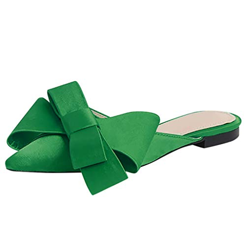 SUNyongsh Pointed Toe Slipper Womens Ladies Shallow Flat Solid Shoes Casual Bow Tie Shoes Green