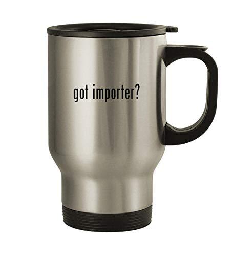 got importer? - 14oz Stainless Steel Travel Mug, Silver (Psp Chess)