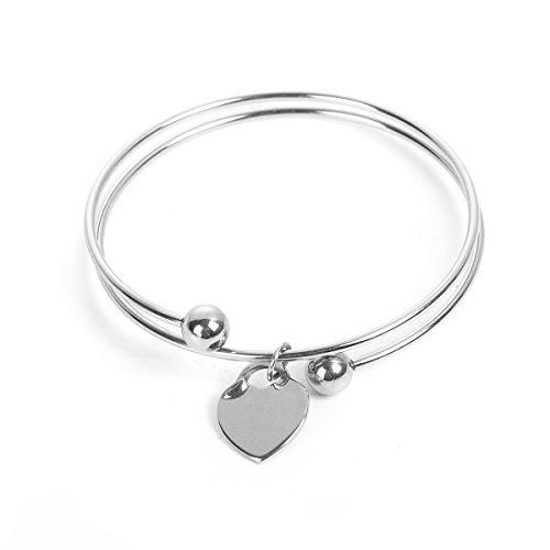 Double Heart Tag Bracelet - JGFinds Blank Heart Stamping Tag Bangle Bracelet, Double Bar, Stainless Steel
