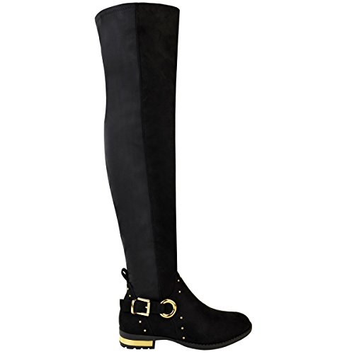 Thigh Faux Size Fashion High Studded The Over Womens Casual Flat Boots Thirsty Suede Black Stretchy Knee rrx67E
