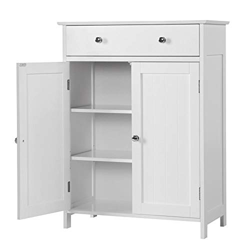 Yaheetech Bathroom Floor Cabinet with Double Doors 1 Drawer Entryway Storage Shelf, White