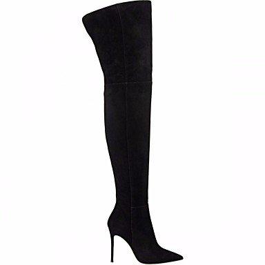Señaló Confort Para Invierno Botas Muslo CN36 UK4 Toe Zapatos Talón Otoño Cuero De Auténtico Casual Stiletto Negro Mujer Gris EU36 RTRY US6 Botas Alta 8aPS0qwx
