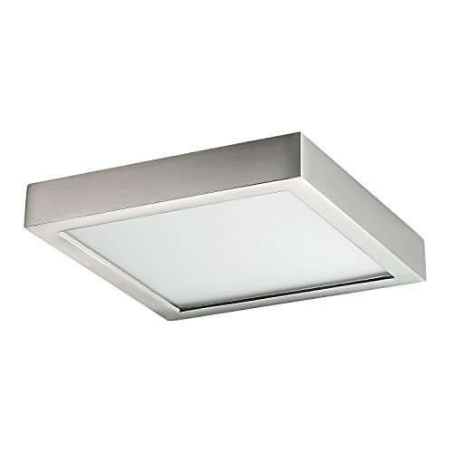 inch Dimmable Flush Mount Ceiling Fixture, 11 Watt, Brushed Nickel Finish, 3000K Soft White, 65W Replacement, Damp Location Rated, ETL Listed, IN-0313-1-SN (6 White Ceiling Mounts)