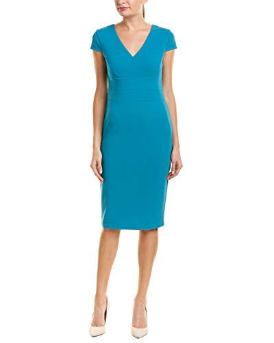 Donna Morgan Women's Cap Sleeve Stretch Crepe Sheath Dress, Midnight Teal, ()