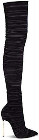 Yzllq Mode Bottes Femme, Cuissardes Talons Hauts Stretch en Daim Femme, Bottes Hautes Stiletto, Convient pour Un Usage Quotidien, Bureau,Noir,38.5EU