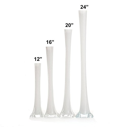 Elegant Glass Eiffel Tower Vases for Centerpiece, Home Decor, Flower Arrangements in Clear, White or Black (White, 12