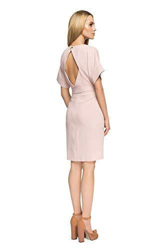 Kurzärmliges Kleid Gürtel Reißverschluss Puder mit Clea und ZBPw5xBq