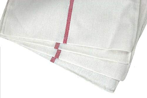 Soft 240 Pack Absorbent White Cotton RED Striped 15 x 25'' Dish Towels Kitchen Cotton