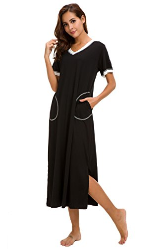 (AVIIER Long Nightgown Womens Lounge Dresses with Pockets V Neck Short Sleeve Maxi Nightshirt Sleepwear (Black, L))