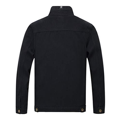 Capispalla Outwear Denim Jeans Di Giacca Uomo Tasche Cappotto In Petto 02 Retro Jacket Con Giacche Tookang Trucker Nero Sul nwYqF6na