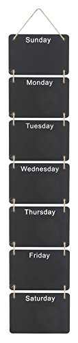 Hanging Weekly Chalkboard Planner, Days of the Week, Wood with Jute Rope Posh Lifestyle