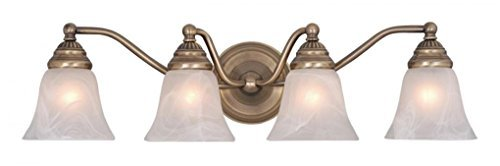 Vaxcel VL35124A Standford 4 Light Vanity Light, Antique Brass Finish by (Standford 4 Light)