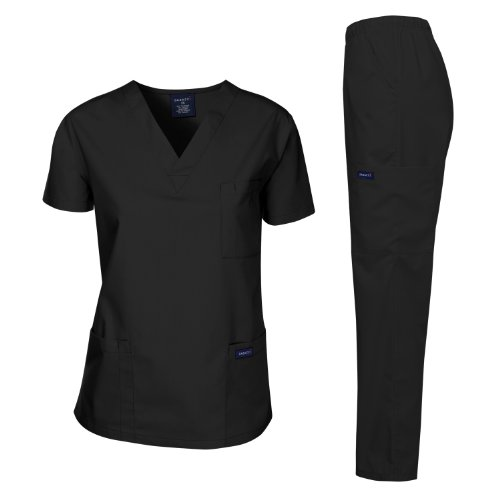 Dagacci Medical Uniform Woman and Man Scrub Set Unisex Medical Scrub Top and Pant, BLACK, L