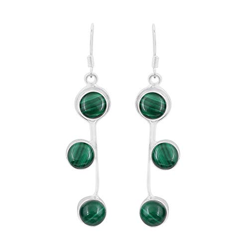 Natural Malachite Earrings 925 Silver Overlay handmade Dangle Earrings for women ()