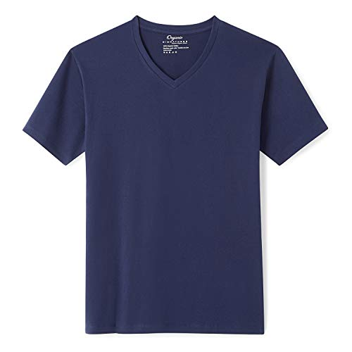 Organic Signatures Men's Short-Sleeve V-Neck Cotton T-Shirt (2X-Large, Navy Blue)