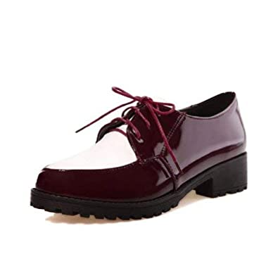02fbdb6139f4a Amazon.com | Charm Foot Women's Lace Up Low Heel Chunky Oxfords ...