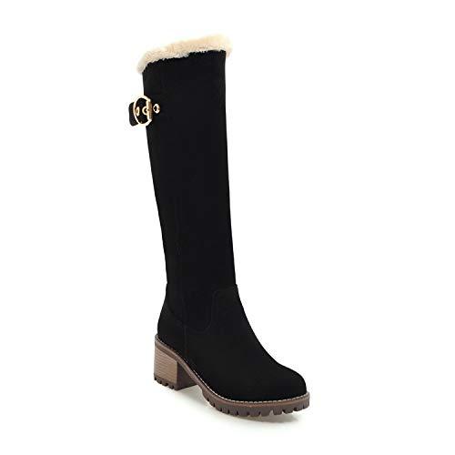 Phone Remote Jack Shop (Women Boots Female Winter Shoes Woman Fur Warm Snow Boots Fashion Square High Heels Knee high Boots Black Boots,Black,4)