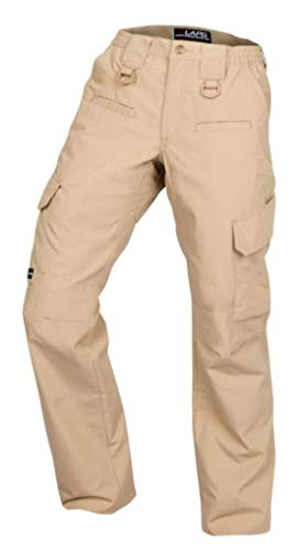 LA Police Gear Women's Operator Pant with 8 Pockets and Elastic Waist - Khaki-6-Long