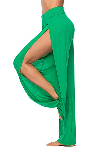 AvaCostume High Slit Harem Pants Women Genie Hippie Harem Pants Trousers Green XL ()