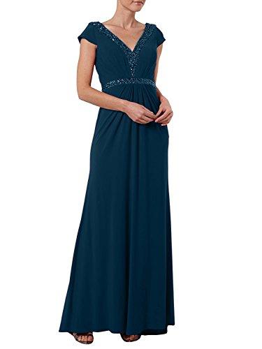 Lang Abendkleider Kurzarm mit Blau Brautmutterkleider Dunkel Chiffon Charmant Neu Promkleider Damen Ballkleider CEwqtFtx