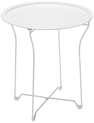 Atlantic urbSPACE Metal Side Table - Stylish Folding Tray Table, Sturdy Steel Construction with Wear-Resistant Powder Coating, PN38436135 in White